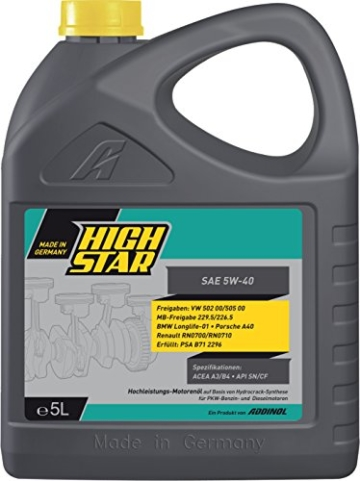 HighStar Motoröl SAE 5W-40  5Liter - Made in Germany